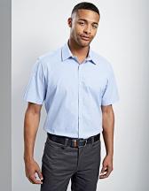 Men`s Microcheck (Gingham) Short Sleeve Cotton Shirt