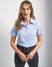 Ladies` Microcheck (Gingham) Short Sleeve Cotton Shirt