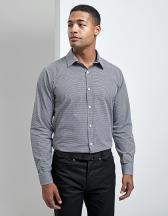 Men`s Microcheck (Gingham) Long Sleeve Cotton Shirt