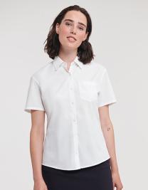 Ladies` Short Sleeve Classic Pure Cotton Poplin Shirt